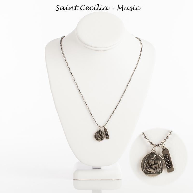 Myparishstore catholic gifts st cecilia medal is hand cast in the usa and includes a music tag the medal in antique silver tone comes on a 24 stainless steel bead ball chain mozeypictures Choice Image